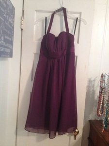 Alfred Angelo Eggplant Silk Chiffon 7016s Feminine Bridesmaid/Mob Dress Size 12 (L)