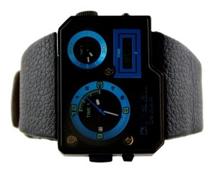 Diesel Diesel Mens Black/Blue Dial Duel Time Analog Digital Black Strap Watch