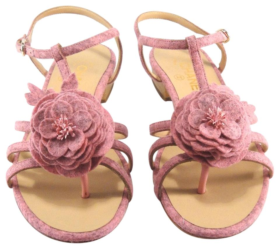 Chanel pink felt fabric camellia flower gold flat 535 sandals size chanel camellia strappy pink sandals mightylinksfo
