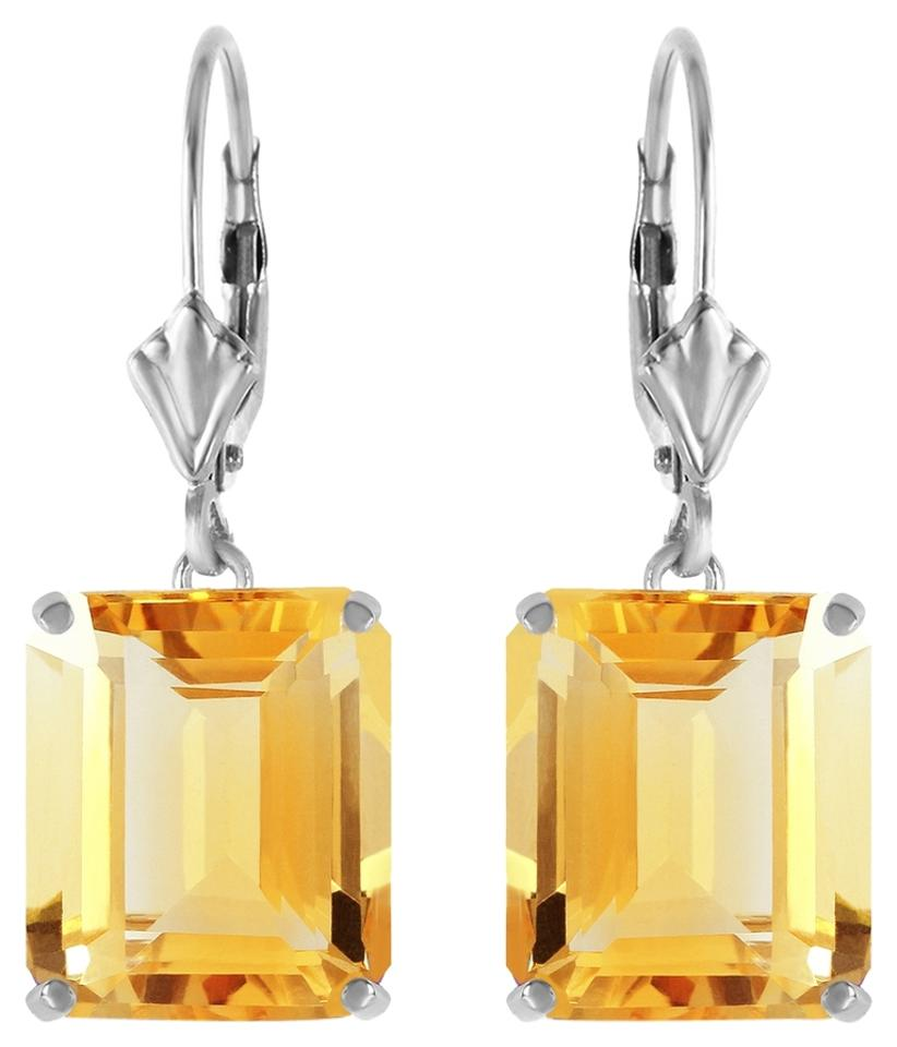 Yellow 13 Ctw 14k Solid White Gold Leverback Citrine Earrings 73 Off Retail