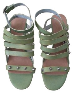 Free People Strawberry Fields Vegan Sandals Teal Green Wedges