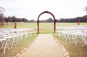 Orange and Cream/White Silk Rose Petals - (Has Some Tears) Aisle Runner