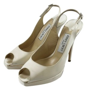 Jimmy Choo Satin Slingback Peep Toe Buckle Bridesmaid Dyable Bridal Pump Penny Lane Ivory Formal