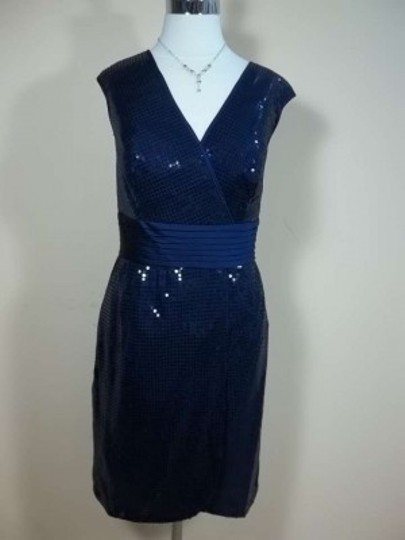 Alfred Angelo Navy Satin 7238 Formal Bridesmaid/Mob Dress Size 14 (L)