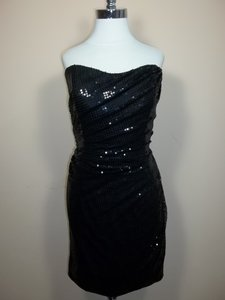 Alfred Angelo Black Satin 7239 Formal Bridesmaid/Mob Dress Size 16 (XL, Plus 0x)