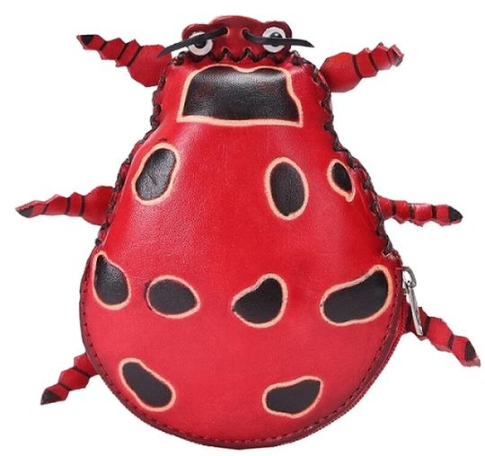 Unknown Handmade Leather Beetle Coin Purse Image 0