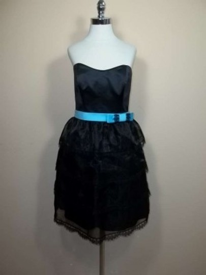 Alfred Angelo Black/Blue Box Organza 7240 Formal Bridesmaid/Mob Dress Size 8 (M)