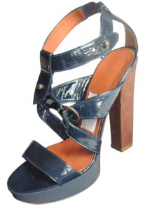 Lanvin Patent Leather Heels Navy Platforms