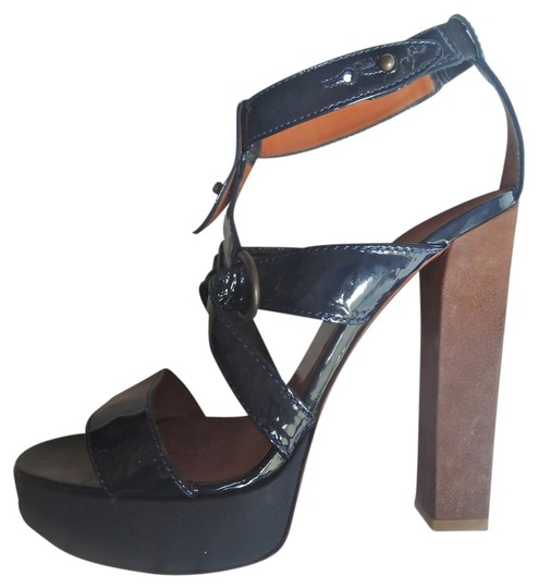 Lanvin Patent Leather Heels Sandals Navy Platforms