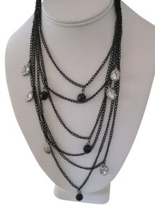 Unknown BLACK AND CRYSTAL MULTIPLE STRAND FASHION BIB STATEMENT NECKLACE