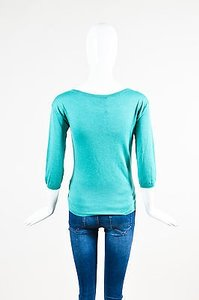 Prada Teal Cashmere Ruched V Sweater