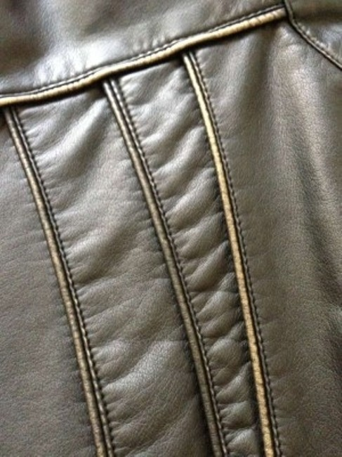 Giacca Black w/ gold detail Leather Jacket