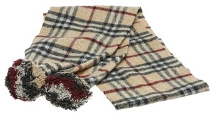 Burberry Burberry Tan Plaid Wool Pom Pom Scarf