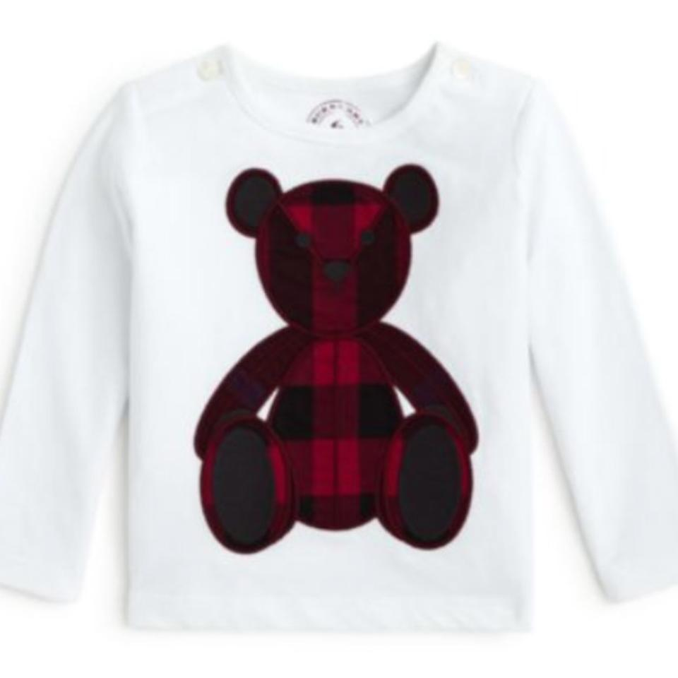 c1fcbefea9ced9 Burberry Black Red and White Girls' Check Print Teddy Bear T-shirt ...