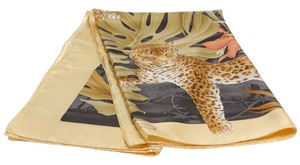 Salvatore Ferragamo Salvatore Ferragamo Green Multicolor Jungle Cat Print Silk Scarf
