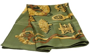 Hermès Hermes Green and Gold Ferronnerie Silk Scarf