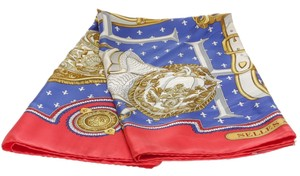 Hermès Hermes Red and Blue Selles A Housse Silk Scarf