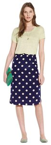 Madewell Skirt Navy and Beige Polka Dot