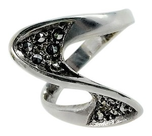 Other Abstract Swirled Sterling Silver Marcasite Ring Size 6.50