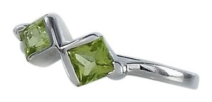 Square Green Gemstone Ring - Lime Green Ring Size 5.75