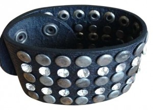 Nordstrom Black leather cuff w/ silver and crystal detailing