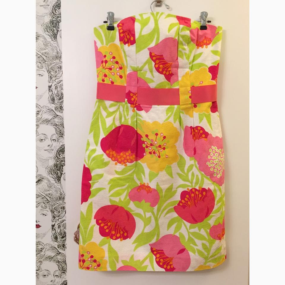 Lilly Pulitzer Pink Yellow & Green Vanessa Strapless In Floral Hot ...