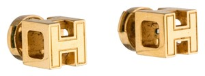 Hermès 18K yellow gold-plated Hermes Cage d'H studs