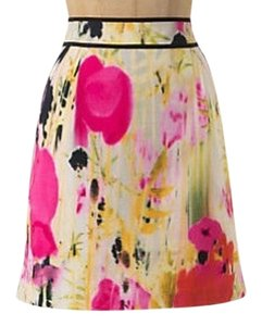 Anthropologie Mini Skirt pink, yellow, and black