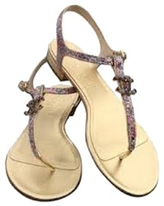 Chanel Glitter Hardware Crystal Interlocking Cc Ankle Strap Gold Sandals