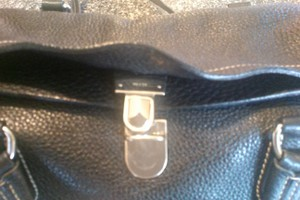 Prada All Leather Satchel in black