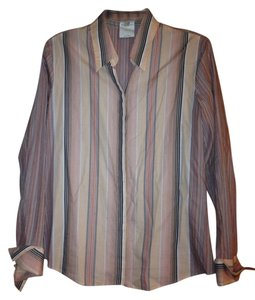 Louis Feraud Top peach, pink and charcoal stripes