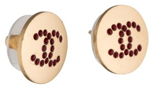 Chanel Gold-tone Chanel red crystal CC embellishments stud earrings