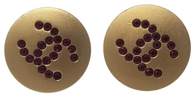 Chanel Gold Red Gold-tone Crystal Cc Embellishments Stud Earrings Chanel Gold Red Gold-tone Crystal Cc Embellishments Stud Earrings Image 1