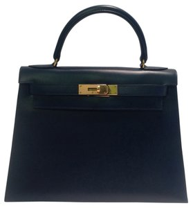 bb3ec5abd69bd Herms Kelly 28cm Vintage Blue Satchel in Navy Blue