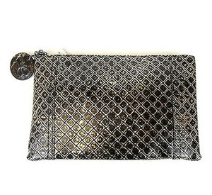 Bottega Veneta Intrecciomirage Leather Distressed Gold/Black Clutch