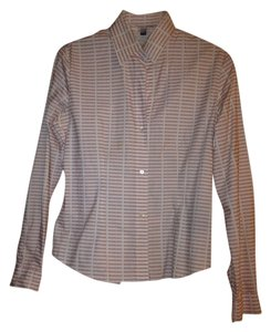 Burberry Button Down Shirt Peach and cream lines