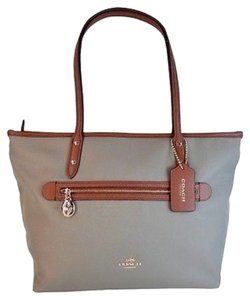Coach Sawyer Canvas Leather Tote in Stone Saddle Beige Brown