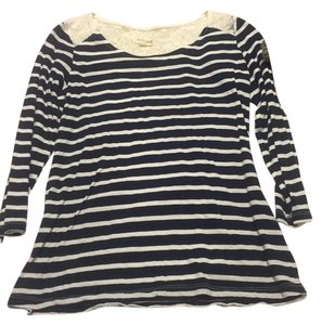 0b00743567 Maison Jules Top Navy and White Striped with Lace Back