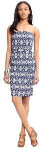 Banana Republic short dress Blue and White Strapless on Tradesy