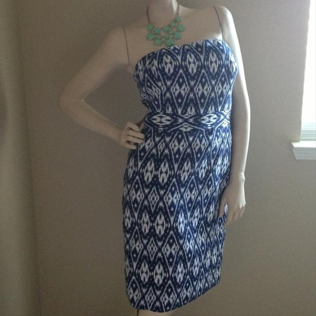 Banana Republic short dress Blue and White Strapless With Tags Party Knee Length on Tradesy