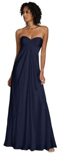Strapless Silk Midnight Blue Charmeuse Formal Pleated Gown