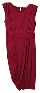 Betsey Johnson Knit Lined Draped Bubble Hem Dark Pink Dress