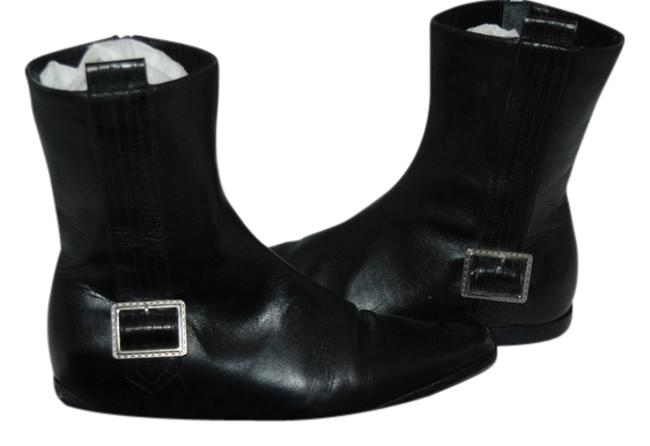Item - Black W 68 Leather Flat W/Silver Buckle 36 Boots/Booties Size US 6 Regular (M, B)