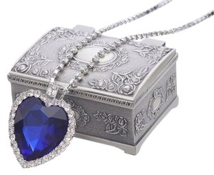REIN Titanic Heart of Ocean Big Czech Blue Crystal Pendant Necklace - item med img