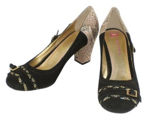 Elaine Turner Suede Snakeskin Gold Hardware Black Pumps
