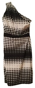 Badgley Mischka short dress white/black Stretch Cotton One Shouldered on Tradesy