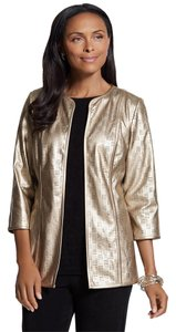Chico's Travelers Collection Perforated New Gold Jacket