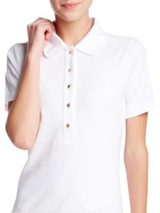 Tory Burch Polo Short Sleeve Golf Button Down Shirt White