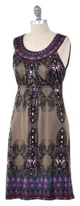 Hale Bob short dress Olive Green Boho Empire Waist Paisley Silk Mini on Tradesy