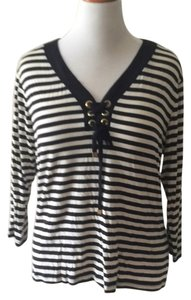 Ellen Tracy Nautical Lace Up Striped Plus Size Lightweight Sweater